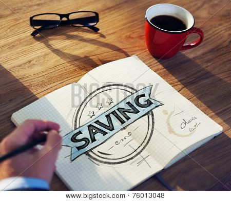 Businessman's table with Saving Concept