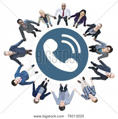 Business People Holding Hands and Telecommunication Concepts