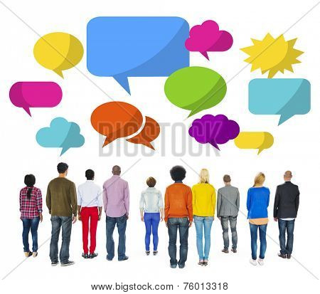 Group of Multiethnic People Facing Backwards with Speech Bubbles