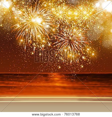 Happy New Year fireworks background in summer, easy all editable