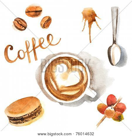 Hand drawn watercolor coffee design elements