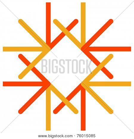 Vector logo of colorful arrows direct to one center point