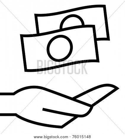 Money on hand icon