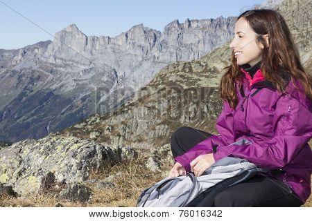 Woman Hiker On Swiss Alps
