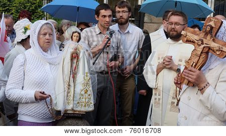 WROCLAW, POLAND - JUNE 27: Legal religious manifestation organized by The Church on street - June 27