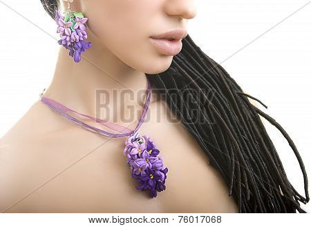 Romantic Style: Fashion Studio Shot Of Beautiful Woman With A Floral Lilac Necklace (jewelery Made O
