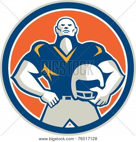 American Football With Helmet Circle Retro