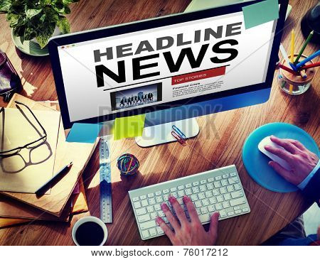 Online Headline News Internet Working Office Concept