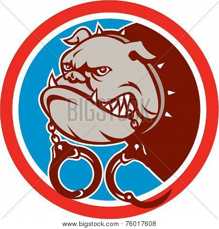 Bulldog Dog Mongrel Head Handcuffs Circle Retro