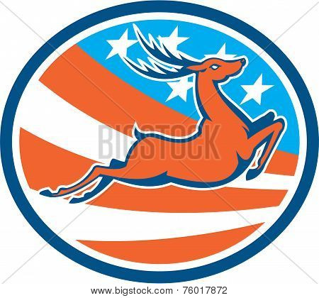 Deer Stag Buck Jumping Usa Flag Circle