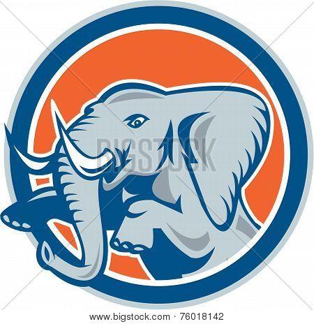 Elephant Prancing Front Circle Retro
