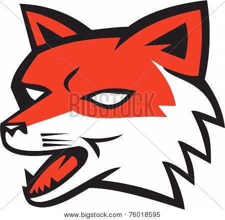 Red Fox Head Growling Retro