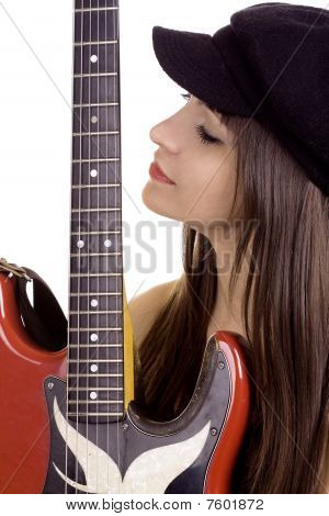 Female Musician With Electric Guitar