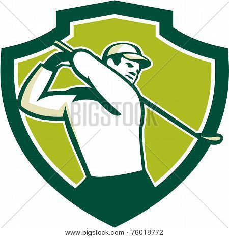 Golfer Tee Off Golf Shield Retro