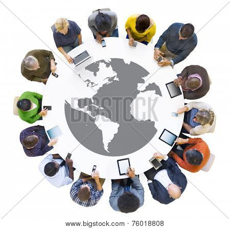 Multi-Ethnic Business People Meeting with Digital Device