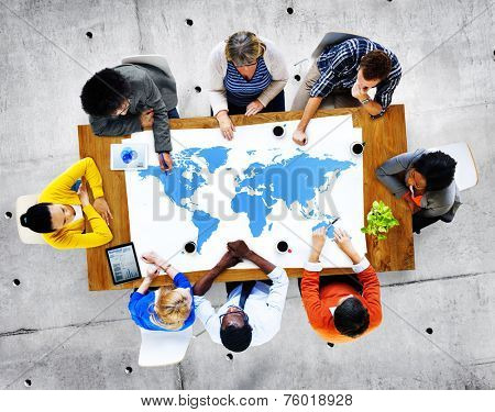 Group of Diverse Business People Discussing About World Issues