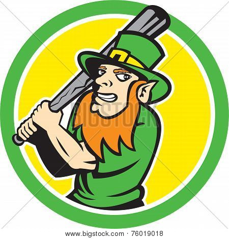 Leprechaun Baseball Hitter Batting Circle Retro