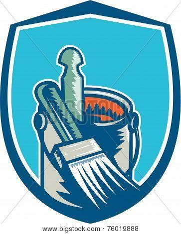Painter Paint Brush Stirrer Can Retro