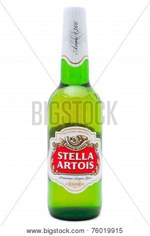 Bottle Of Stella Artois Beer On White Background