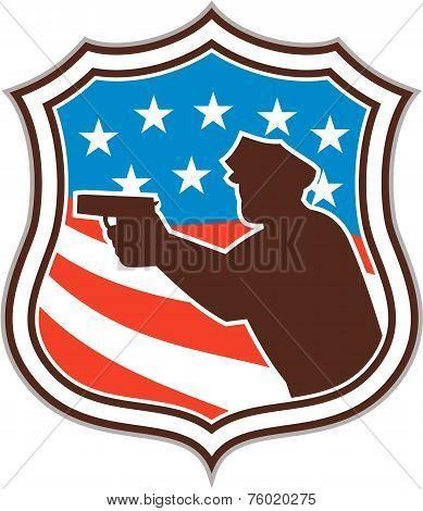 Policeman Silhouette Pointing Gun Flag Shield Retro