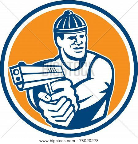 Robber Pointing Gun Circle Retro