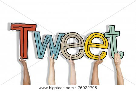 Group of Hands Holding Letter Tweet