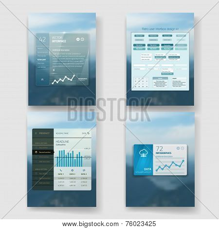 Set of website interface template design. Transparent user interface, UI buttons. Minimalistic widge