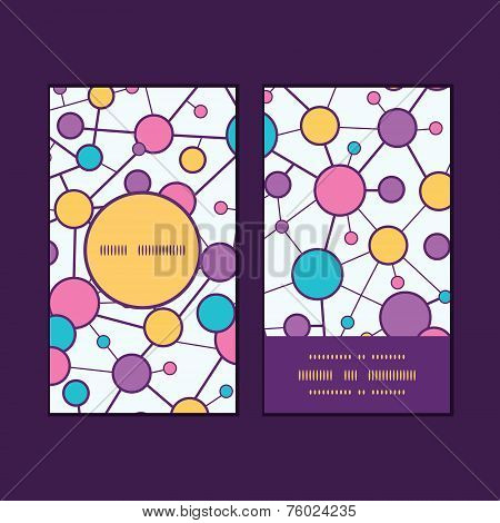 Vector molecular structure vertical round frame pattern business cards set