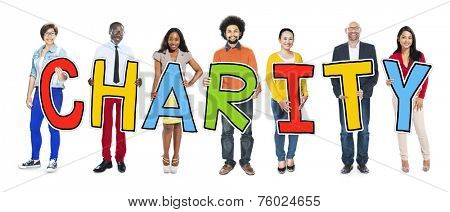 Multiethnic Group of People Holding Letter with Charity Concept