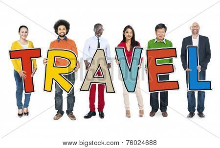 Diverse Group of People Holding Text Travel
