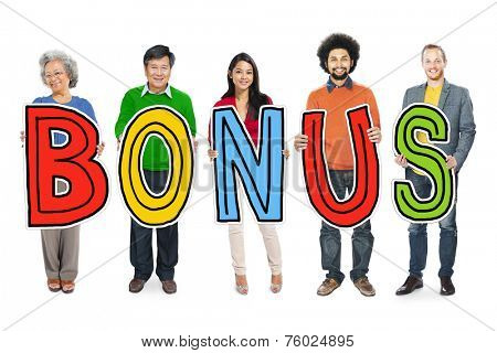 Group of Diverse People Holding Word Bonus