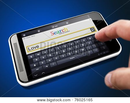 Love in Search String on Smartphone.