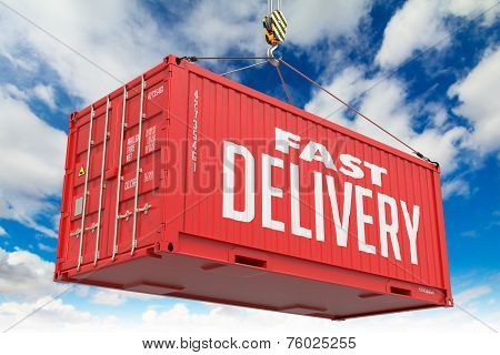 Fast Delivery - Red Hanging Cargo Container.