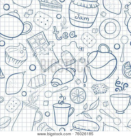 Tea and sweets vector seamless pattern on exercise book background