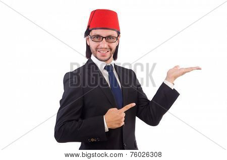 Businessman wearing fez hat isolated on white