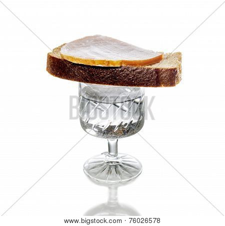 A Glass Of Vodka With A Sandwich There, Isolated
