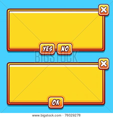 Yellow game interface panels ui buttons