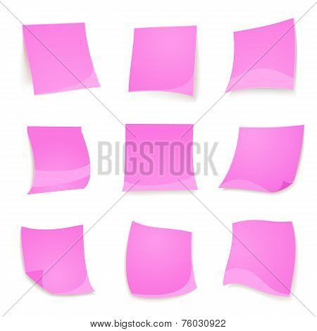 Vector pink stick note isolated on white background