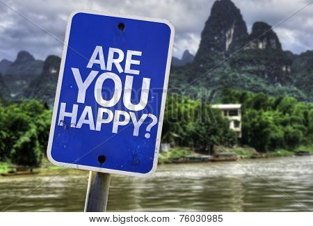 Are You Happy? sign with a forest background