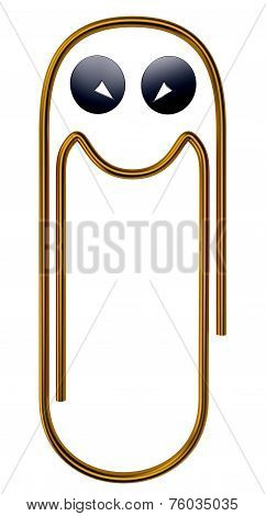 Illustration of happy gold paper clip