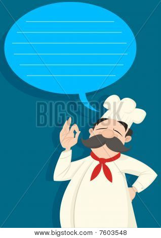 Chef with a talk balloon