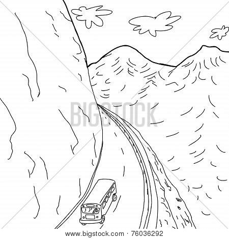Outline Of Bus On Mountain Road