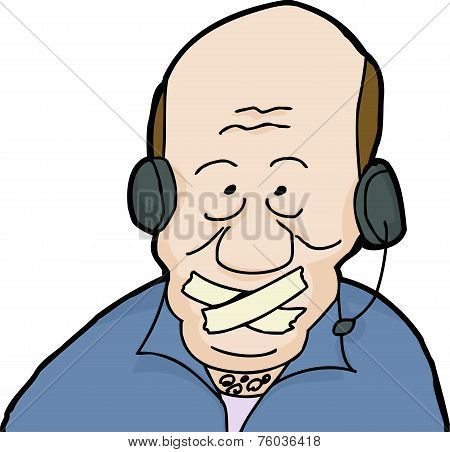 Call Center Man With Tape On Mouth