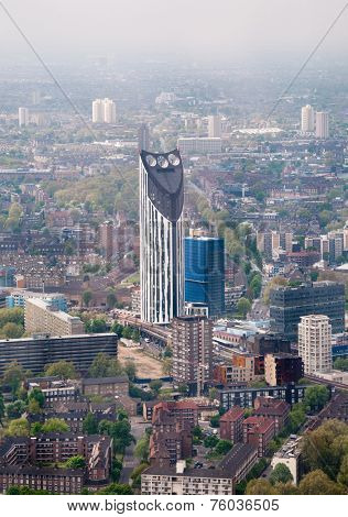 LONDON - 09 JUNE 2013: Overview of Strata SE1 Residential Tower and View of City of London, England on 09 June 2013