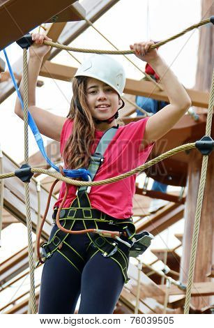 Teenage Girl On The Roap Course Sky Trail
