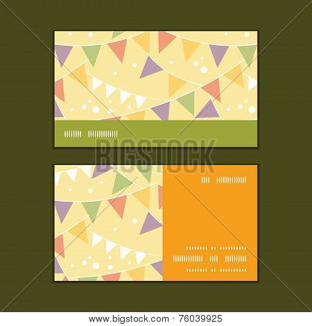 Vector party decorations bunting horizontal stripe frame pattern business cards set