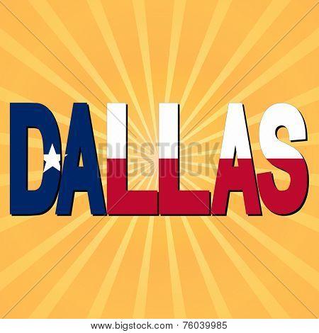 Dallas flag text with sunburst illustration