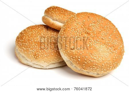 Sesame seeded bread hamburger rolls