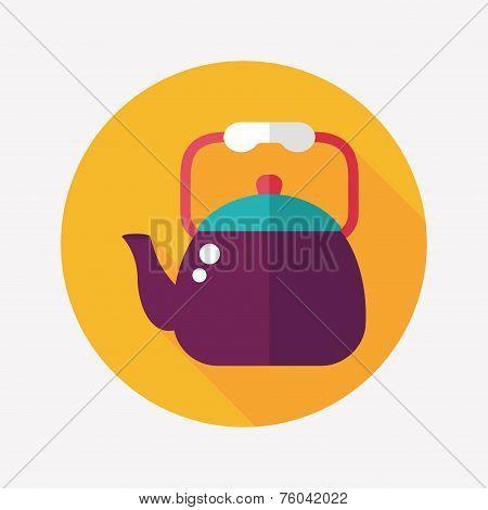 Kitchenware Tea Pot Flat Icon With Long Shadow,eps10