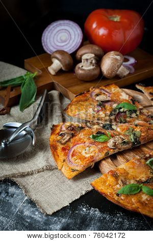 Pizza With Mushrooms, Red Onion And Tomato